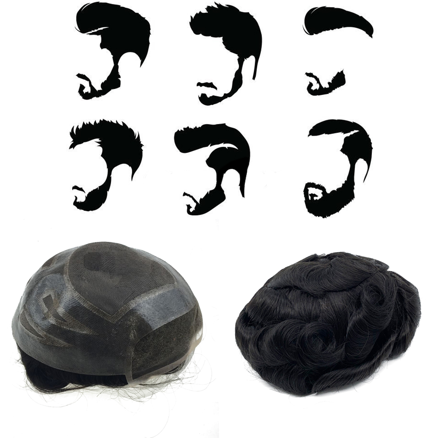 New Toupee men mono lace and PU hot sale 100% good hair for men hair system mens <font><b>wig</b></font> image