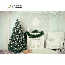 цена на Laeacco Christmas White Wall Fireplace Wreath Tree Gift Snowflake Interior Photo Backgrounds Photography Backdrop Photo Studio