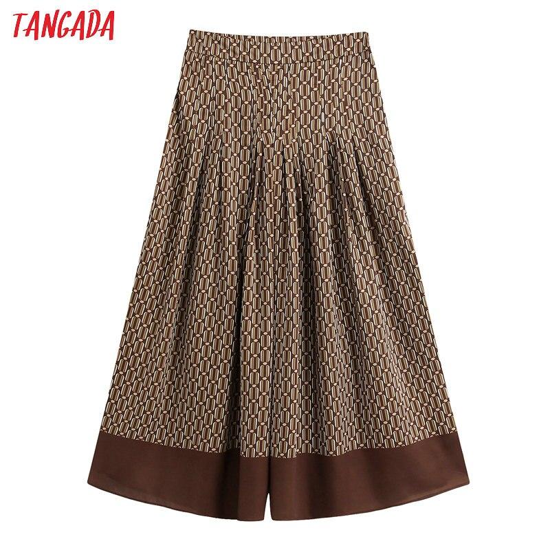 Tangada 2020 Fashion Women Print Wide Leg Crop Pants Trousers Office Lady Pleated Pants Pantalon BE224