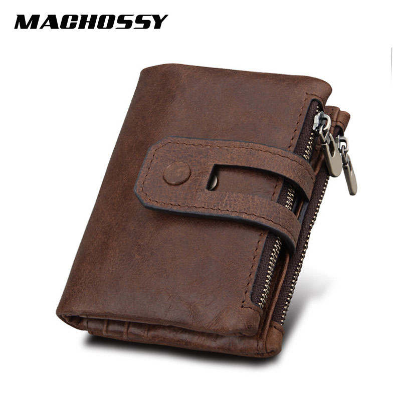 RFID Protected Genuine Leather Men Wallet Small Men's Leather Wallets Women Double Zippers Hasp Wallet Male Short Coin Purse