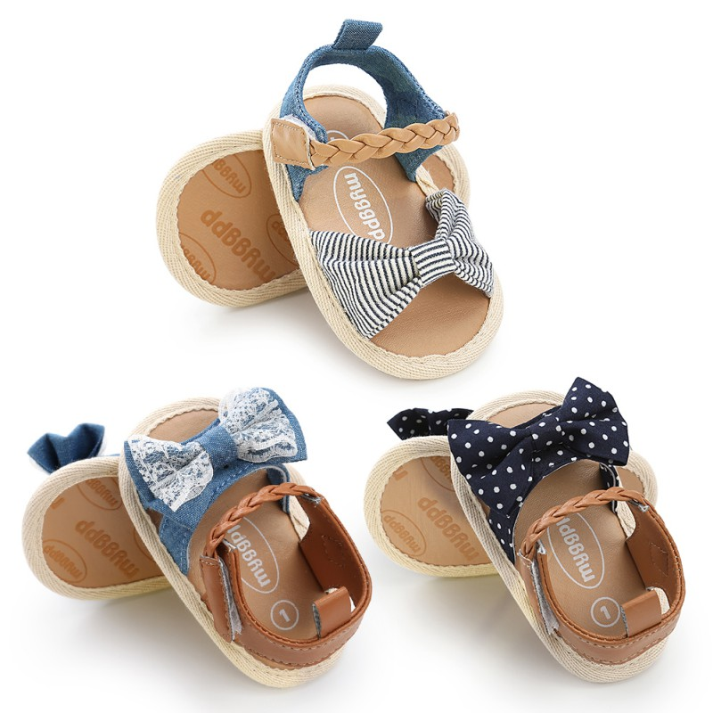 Baby Girl Sandals Summer Cotton Canvas Dotted Bow Baby Girl Sandals Newborn Baby Shoes Playtoday Beach Sandals 0-18M Baby Shoes