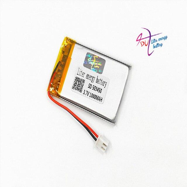 JST batería recargable de polímero de litio para auriculares Mp3, XH, 2,54mm, 503450, 523450, 3,7 V, 1000MAH, almohadilla para auriculares, DVD, cámara bluetooth