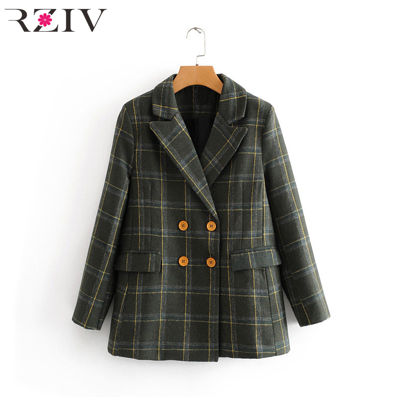 RZIV Autumn and winter women's suit casual plaid double-breasted pocket decorative suit