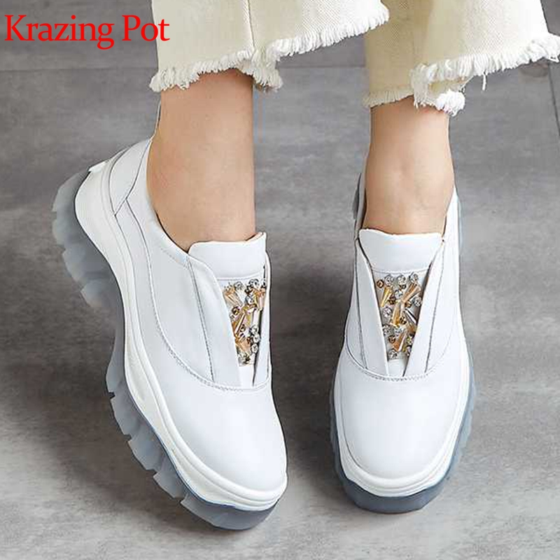 Krazing Pot Cow Leather Metal Decoration Slip On Crystal-studded Waterproof Sneakers Round Toe Convenient Vulcanized Shoes L1f8