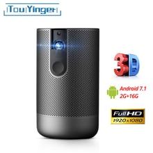 TouYinger K3 Full HD активный 3D проектор DLP 1920x1080 поддержка 4K видео домашний мультимедийный проектор USB Android 7,1 2 Гб ram wifi батарея для улицы