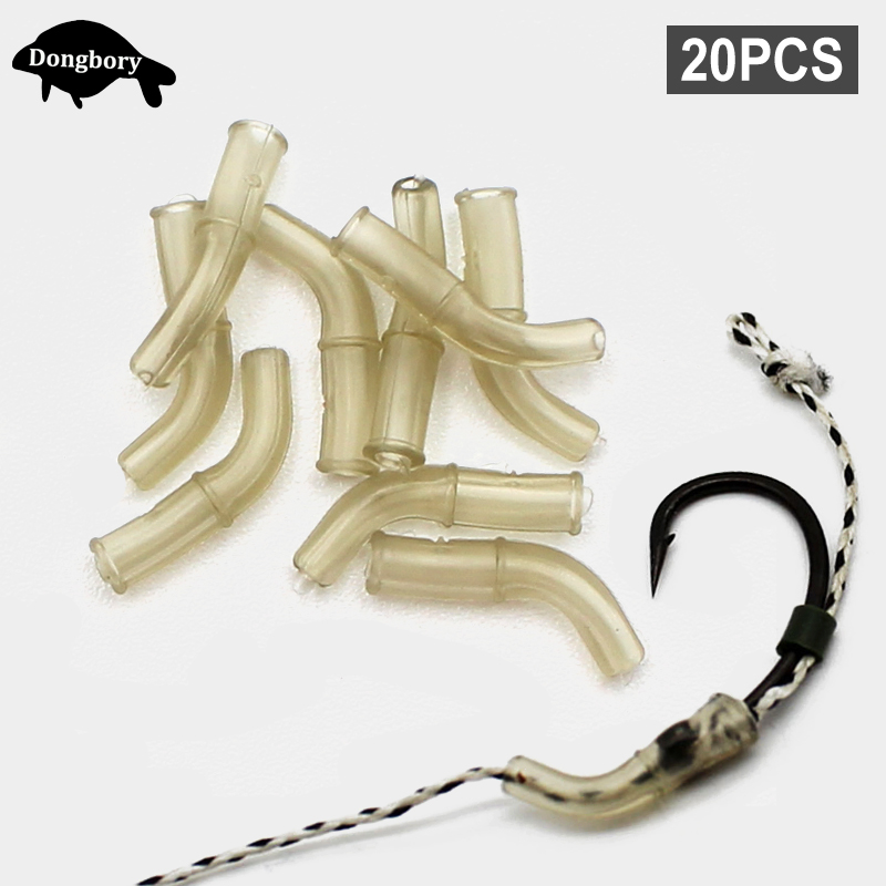 20PCS Carp Fishing Line Aligner Short Hook Sleeve Soft Rubber Elbow Anti Tangle Sleeve For Hair Rig Fishing Terminal Accessories