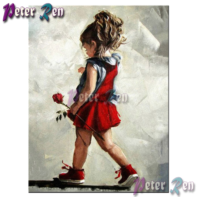 Diy Diamond painting Red dress girl with rose full Square/round Rhinestones cross stitch embroidery picture Handmade Girl gift