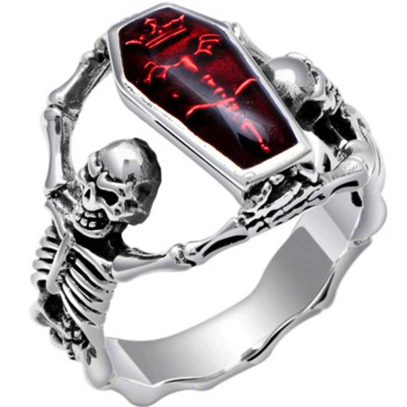 2020 Vintage Punk Skull Ring Men Hip Hop Engagement Ring Male Fashion Red Zircon Rings For Women Jewelry Silvery Rings Femme New