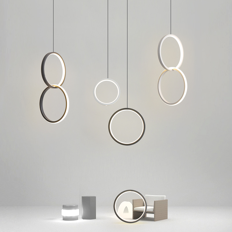 2019 New Circle Rings Modern Led Pendant Lights For Bedroom Bedside Dining Room Bar White/black Color Led Pendant Lamp 90-260V