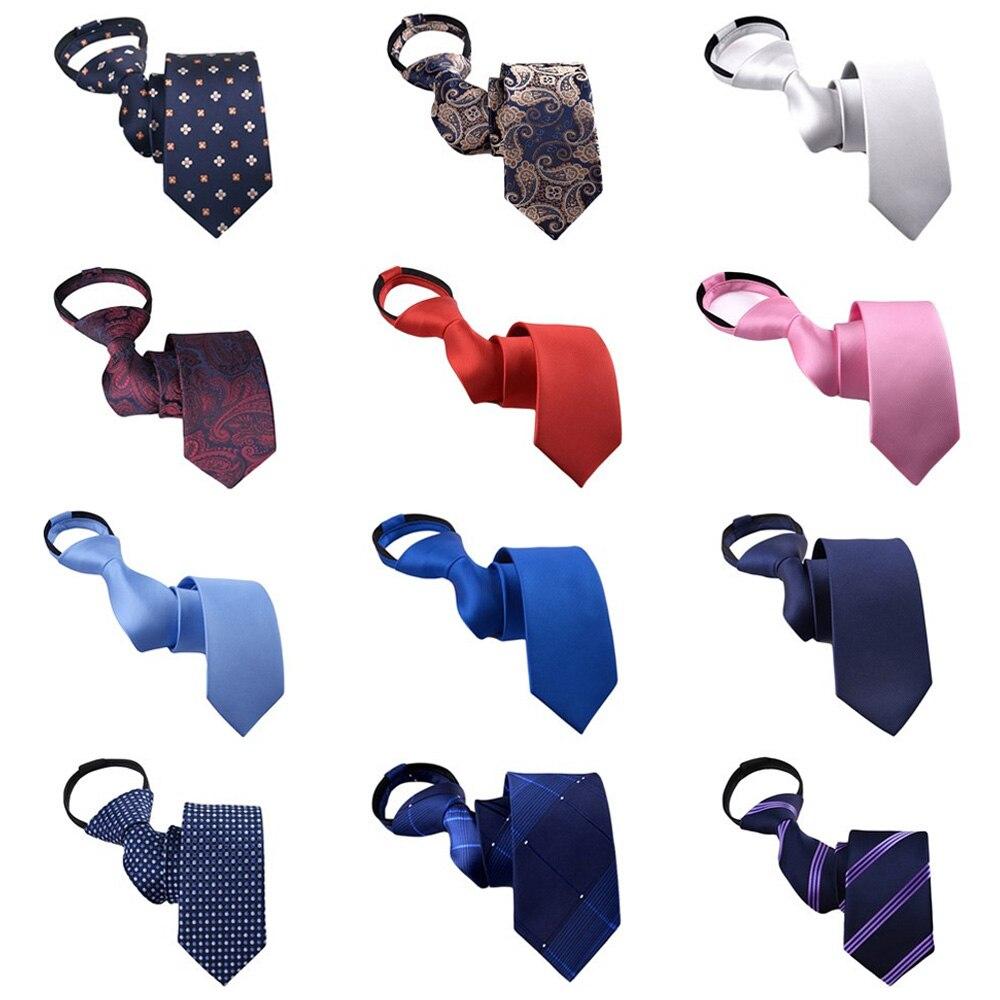 Mens Paisley Skinny Zipper Neckties Pre-tied Wedding Party Casual Stripe Ties