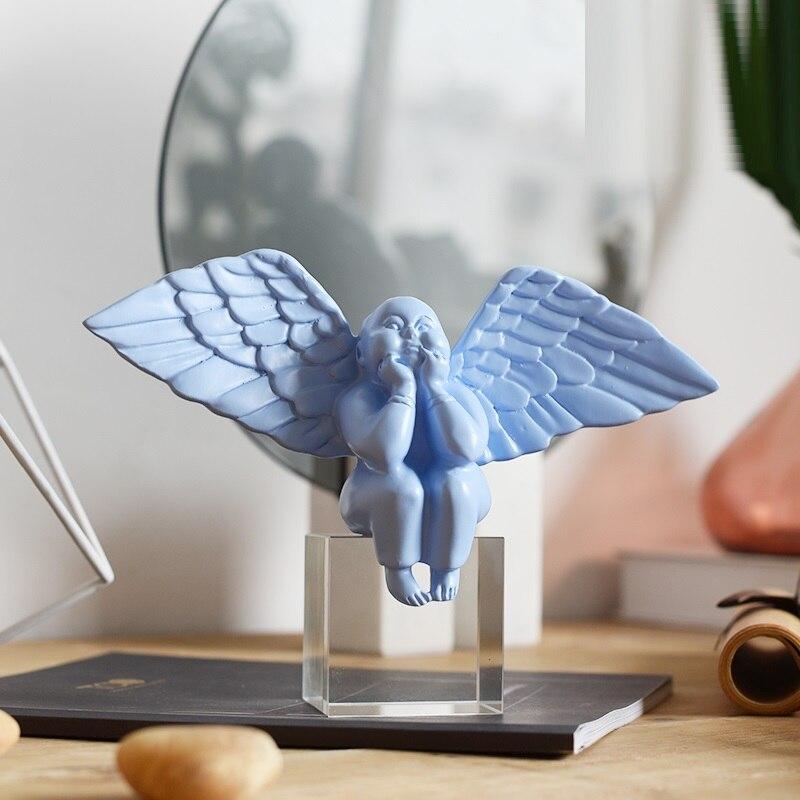 Nordic Fat Angel figurita estatua lindo Ángel niño cristal arte escultura resina artesanías decoración del hogar Accesorios R2246 - 3