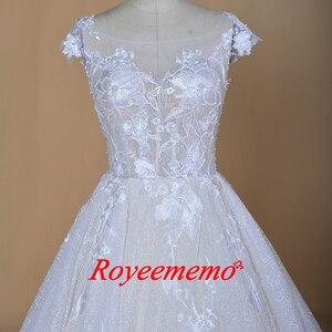 Image 3 - Robe de mariée sur mesure, robe de mariage brillante, robe de mariée, à manches courtes, sur mesure, robe de bal dubaï bling, directement à lusine, 2020