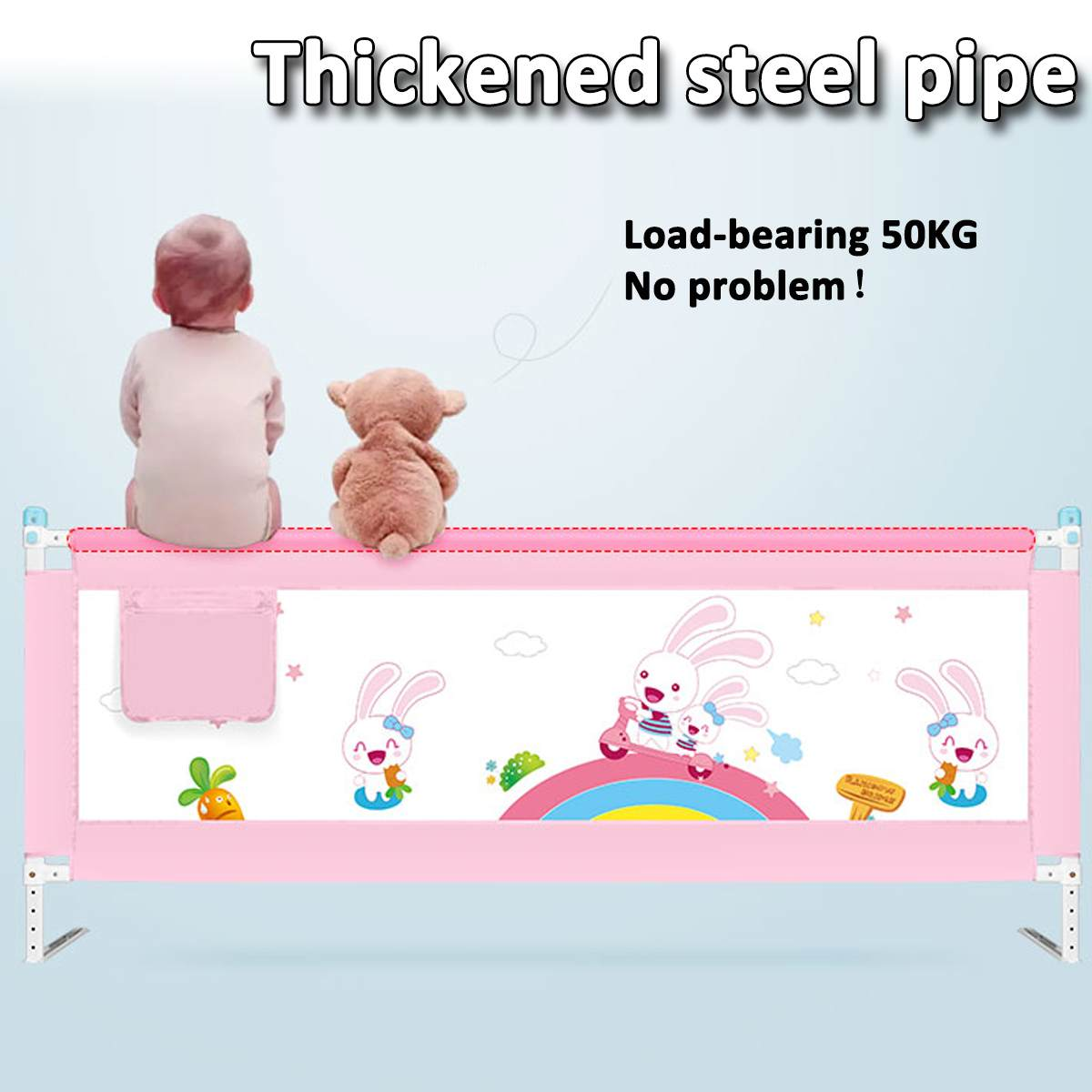 63 to 83 cm Height Adjustable Kid Bed Guard with Foldable Railing Sleep for Baby Safety from Falling from Bed 9