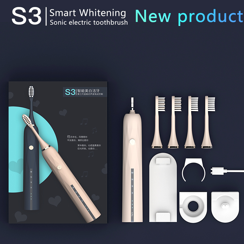 Powerful Ultrasonic Adult Electric Toothbrush Washable Electronic Whitening USB Rechargeable Automatic Toothbrush image