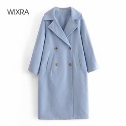 Wixra Fashion Straight Overcoat Stylish Double Breasted Pockets Female Long Wool&Blends Outerwear Autumn Winter