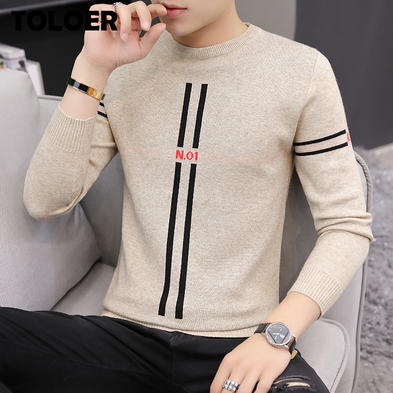 2020 Autumn Casual Mens Sweater O-Neck Striped Slim Fit Knittwear Mens Fashion Sweaters Pullovers Winter Men Pullovers Homme 3XL