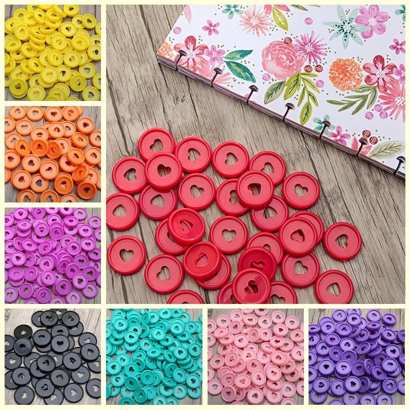 100 Pcs Solid Heart Binder Rings For Notebooks 24mm Diy Happy Planner Discs Loose Leaf Mushroom Binder For Scrapbooking A20-S1