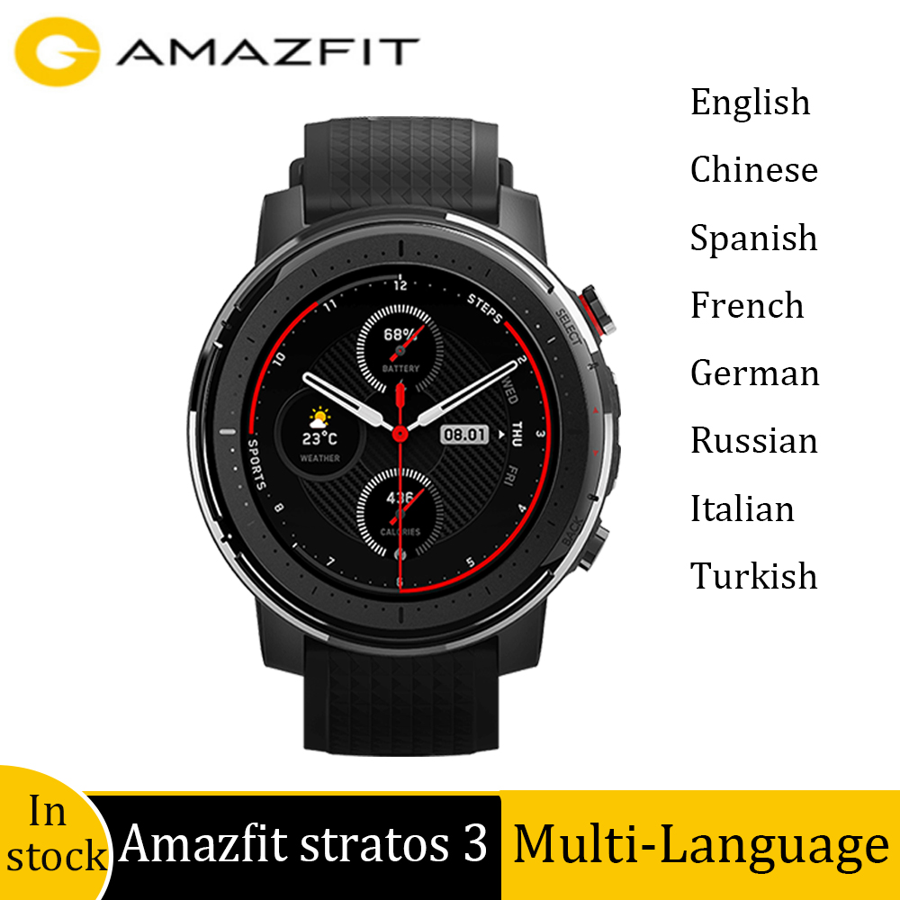 Globale version Amazfit Stratos 3 <font><b>GPS</b></font> smart <font><b>watch</b></font> Bluetooth Musik Herz Rate DualMode 14DaysBattery 1,34 zoll für IOS Andriod image