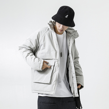 YUECHEN Autumn And Winter New Mens Casual Two-color Stand Collar Raglan Sleeves Cotton Coat Large Pockets Thick Polyester