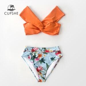 Image 3 - CUPSHE Bikini Floral de cintura alta, conjuntos de Bikini de cintura alta, bañador Sexy sin hombros, traje de baño de dos piezas para mujer, 2020, traje de baño para playa