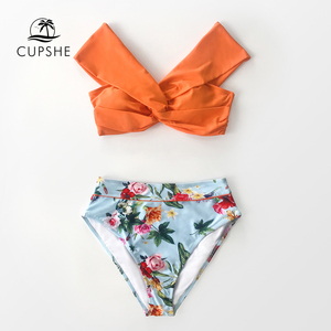 Image 3 - CUPSHE Orange Floral Twist High Waisted Bikini Sets Sexy Off Shoulder Swimsuit Two Pieces Swimwear Women 2020 Beach Bathing Suit