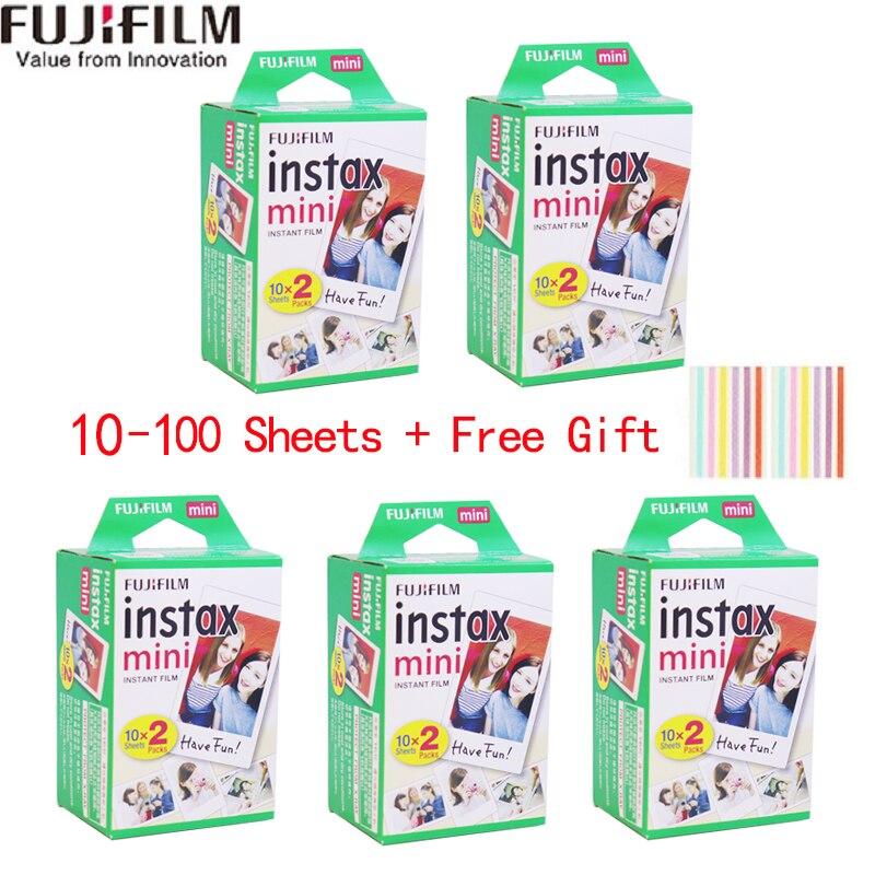 20-100 folhas fuji fujifilm instax mini 9 filmes borda branca 3 Polegada filme largo para câmera instantânea mini 8 9 7s 25 50s 90 papel de foto