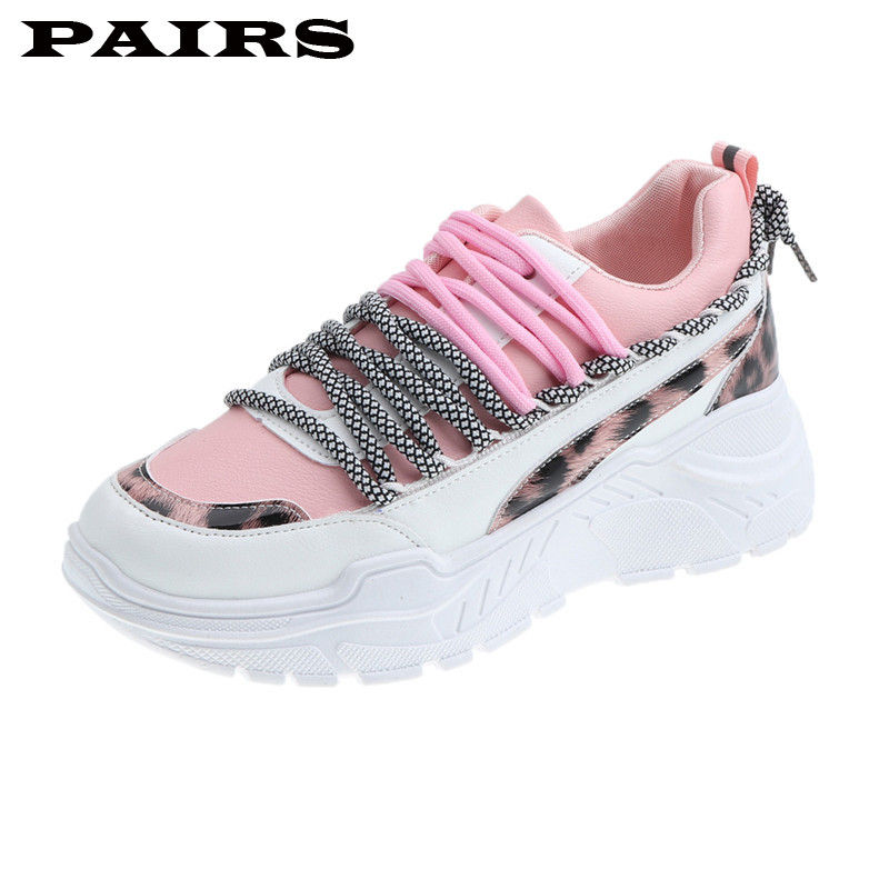 Women's Chunky Sneakers 2019 Fashion Women Platform Shoes Lace Up Pink Vulcanize Shoes Women Female Trainers Dad Shoes Plus Size