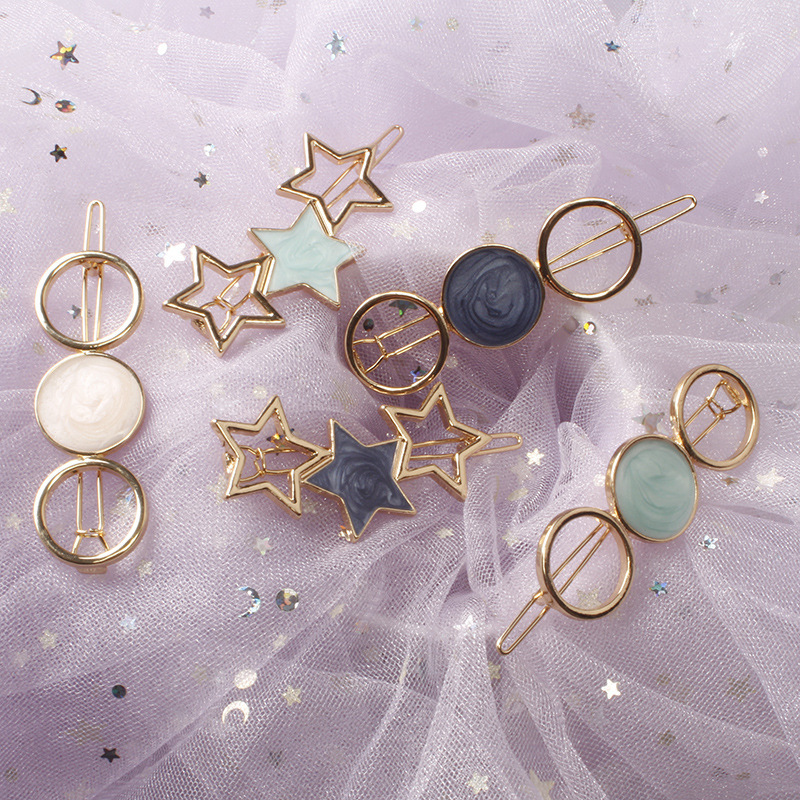 Fashion Women Acetate Round Star Alloy Hair Clip Headwear Hair Ornament Headband Hairpin Barrette Fashion Hair Accessories