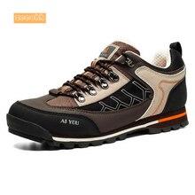 Мужская осенне-зимняя обувь из коровьей замши для пешего туризма водонепроницаемые альпинистские уличные кроссовки амортизационные походные ботинки для мужчин
