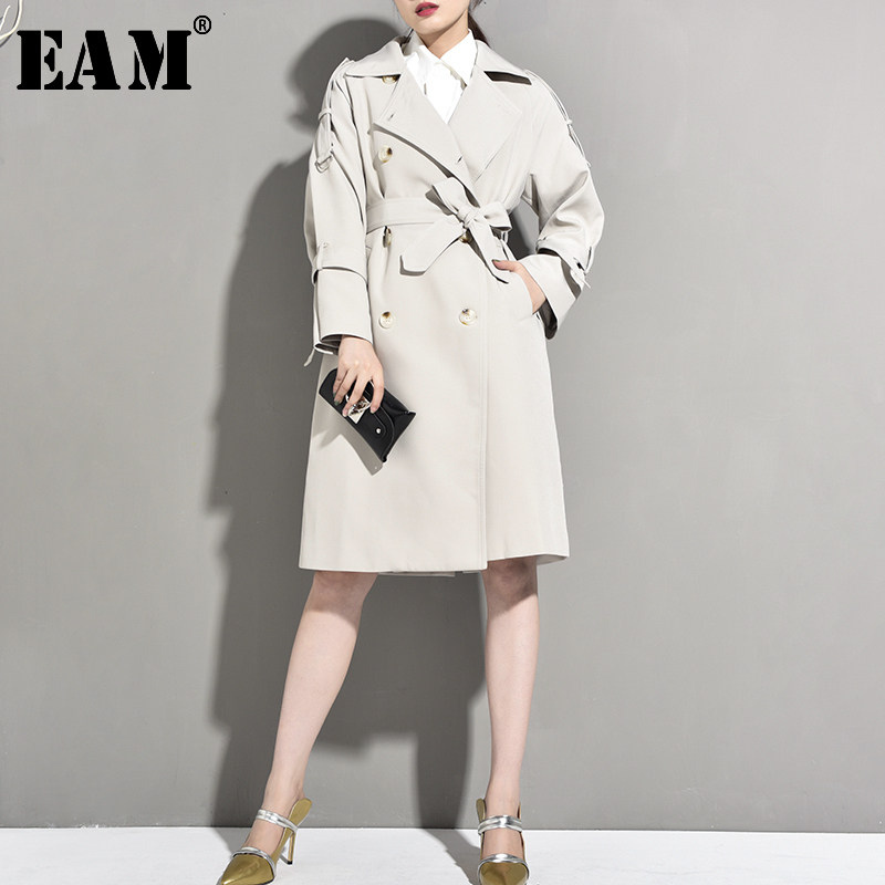 [EAM] Women Doubel Breasted Bandage Temperament   Trench   New Lapel Long Sleeve Loose Fit Windbreaker Fashion Spring 2020 JR67702