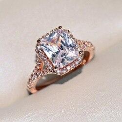 14K, покрыто розовым золотом квадратный натуральный Муассанит кольцо для женщин, хорошее ювелирное изделие Anillos De Свадебные Bizuteria Mujer ювелирн...
