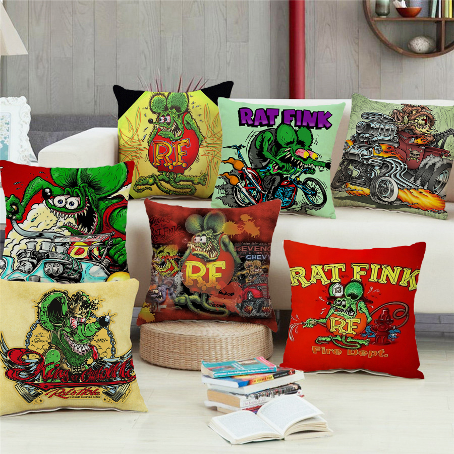1PC 45*45cm Rat Fink Print Pillowcase Sofa Car Bed Sofa Pillow Case Bedroom Decoration Cushion Cover Free Shipping
