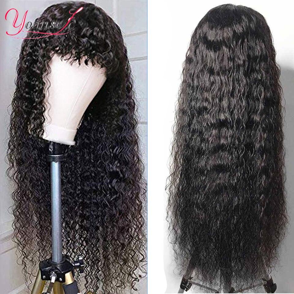 Younsolo-pelucas de cabello humano con flequillo, pelucas brasileñas, peluca de ondas al agua Remy con flequillo, máquina completa con encaje frontal para mujer