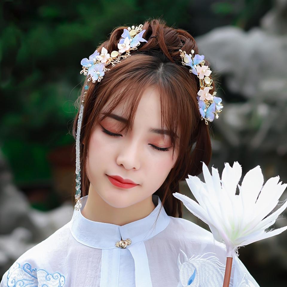 Acessórios para o Cabelo Grampo de Cabelo Mulheres Hanfu Borla Hairpin Side Clipe Liga Flor Cos Estilo Chinês Headwear
