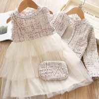 Western Party Tutu Cake Layered Dress with Coat and Bag Outfits Princess Autumn Ruffles Sweet Girls 3pcs Set Black Beige Clothes