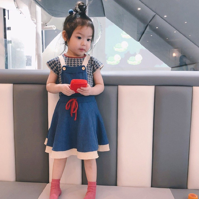 Girls Cardigan Sweater Shorts 2021 Autumn Brand Boys Cotton Knitted Sweaters Baby Girl Bust Skirt Coat Wave T-shirt Kids Clothes 4