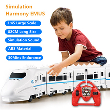 82CM Lengthen Body Simulation Remote Control Train Dual Head Mode Imitate Sound 30 Mins Duration ABS Material Electric RC Model
