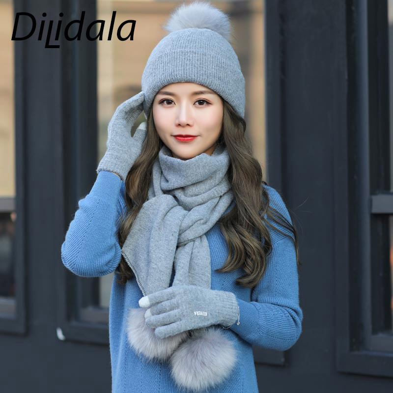 Dilidala Winter Soild Knitted Hat Female Thickened Gloves Double Wool Cap Fashion Wild Warm Scarf, Hat & Glove Sets For Women