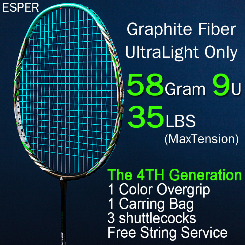 Esper 58Gram Badminton Racket 9U Ultralight Carbon Fiber High Quality Graphite Racquet Professional With String Bag Overgrip