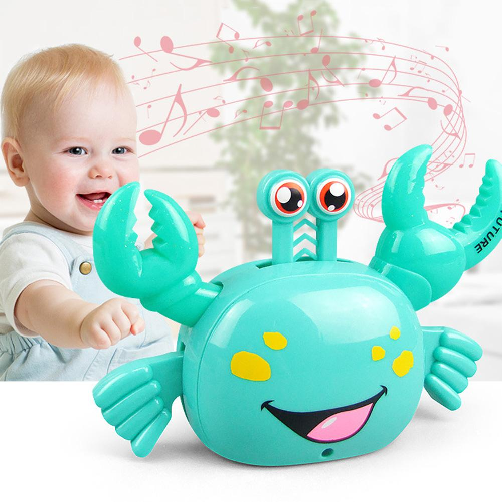 360 Degree Walking Cartoon Electric Crab With LED Music Learning Educational Toy For Kids Christmas Gift