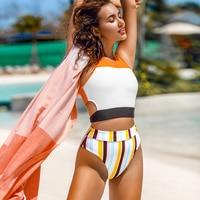 Bikini de talle alto con cuello alto naranja y blanco deportivo, ropa de playa 6