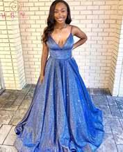 Синие блестящие вечерние платья модель 2020 года на бретелях