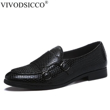 Men Loafer Flat-Shoes Snake Double-Monk Handmade Fashion New Retro for Moccasins Buckle