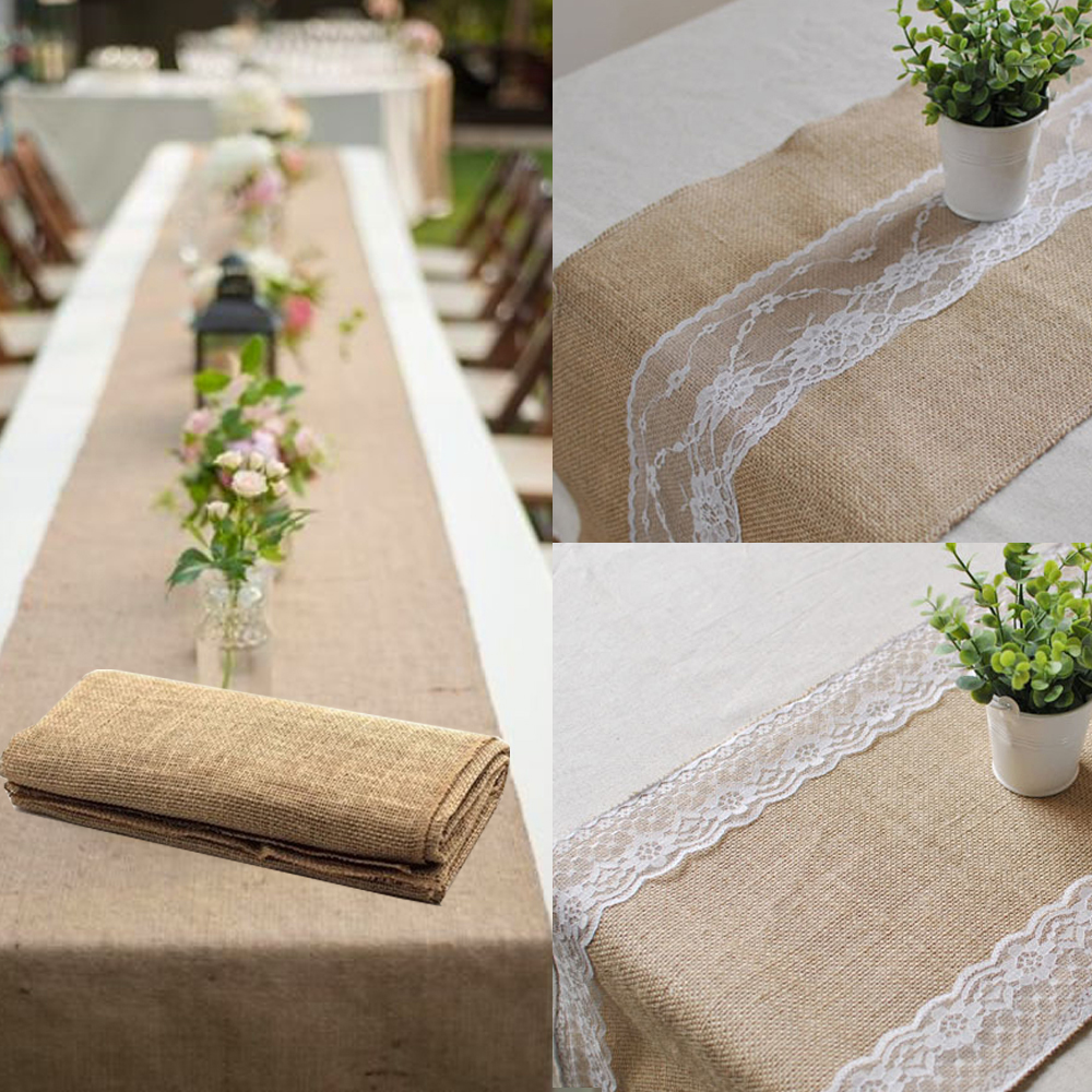 1pcs Burlap Table Runner Table Cloth Natural Jute For Christmas Wedding Party Decorations Universal Size