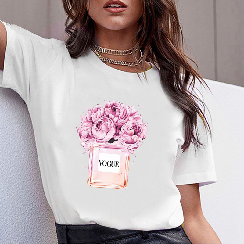 Women Clothes Print Flower Perfume Bottle Sweet Short Sleeve Tshirt Printed Women Shirt T Female T-shirt Top Casual Woman Tee(China)