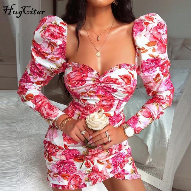 Женское мини платье с рюшами и цветочным принтом, длинным рукавом