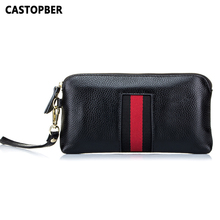 Best Genuine Leather Women's Fashion Long Zipper Wallet With Wraist Strap Day Cl