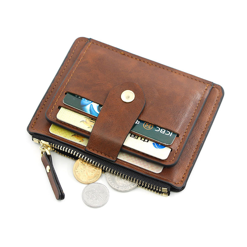 Small Fashion Credit ID Card Holder Slim Leather Wallet With Coin Pocket Man Money Bag Case For Men Mini Women Business Purse