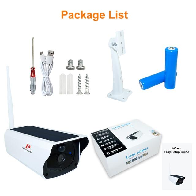 Pripaso 1080P WI FI Solar Camera HD Wireless IP67 Waterproof WiFi Exterior Security Surveillance CCTV IPcamera Two Way Audio Cam 6