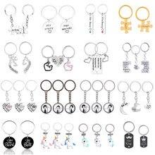 Conjunto de llavero con dibujos de animales, accesorios colgantes de costura geométrica, Circular, regalo de joyería Punk